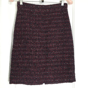J. Crew Maroon Tweed V Slit Wool Pencil Skirt 2 XS